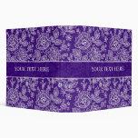 White & Purple Ornate Vintage Floral Lace Design 3 Ring Binder