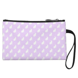 White Purple Pastel Bunny Background Bunnies Wristlet Wallet