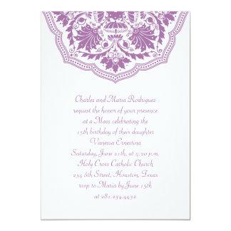 White & Purple Pattern Quinceanera Invitations