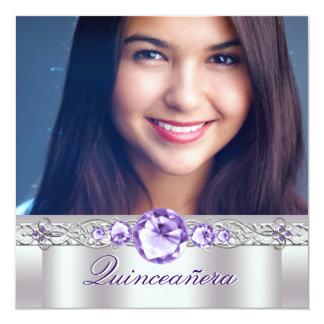 White Purple Photo Quinceanera Invitaitons Card