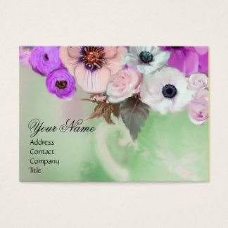 WHITE PURPLE ROSES AND ANEMONE FLOWERS MONOGRAM BUSINESS CARD