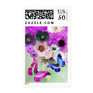 WHITE PURPLE ROSES,ANEMONE FLOWERS AND BUTTERFLIES POSTAGE