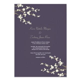 White Purple Sakura Cherry Blossoms Wedding Invite Personalized Announcement