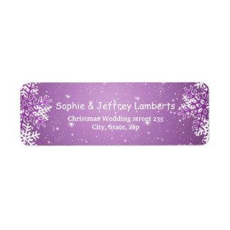 White purple snowflakes on purple Christmas Label