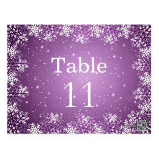 White purple snowflakes wedding table number card