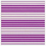 [ Thumbnail: White & Purple Striped Pattern Fabric ]