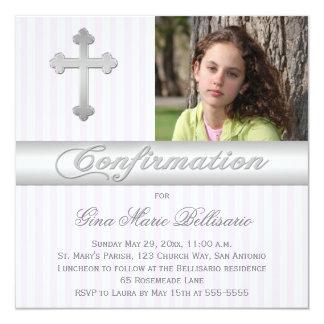 White Purple Stripes Confirmation Photo Invitation