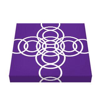 White & Purple Trellis Stripe Wrapped Canvas