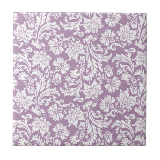 White & Purple Vintage Floral Damasks 2 Tile