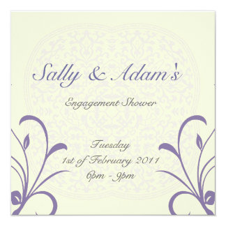 White purple with ornament design - engagement sho card