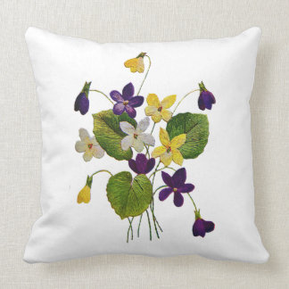 White, Purple & Yellow Violets Embroidered Pillow
