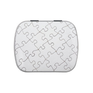 White puzzle candy tin