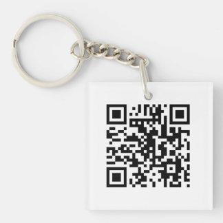 White QR CODE Custom Key Chain
