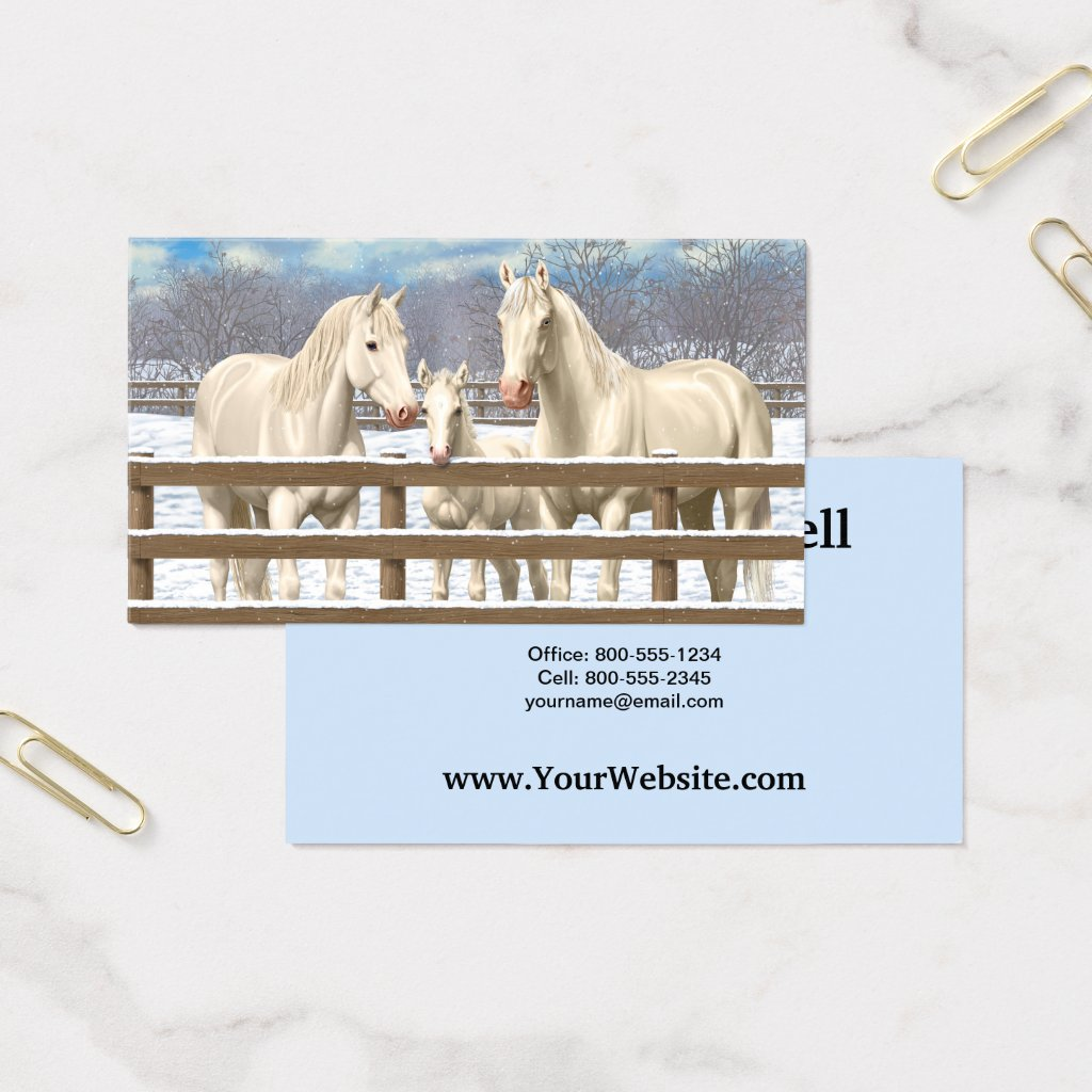 White Quarter Horses In Snow Business Card