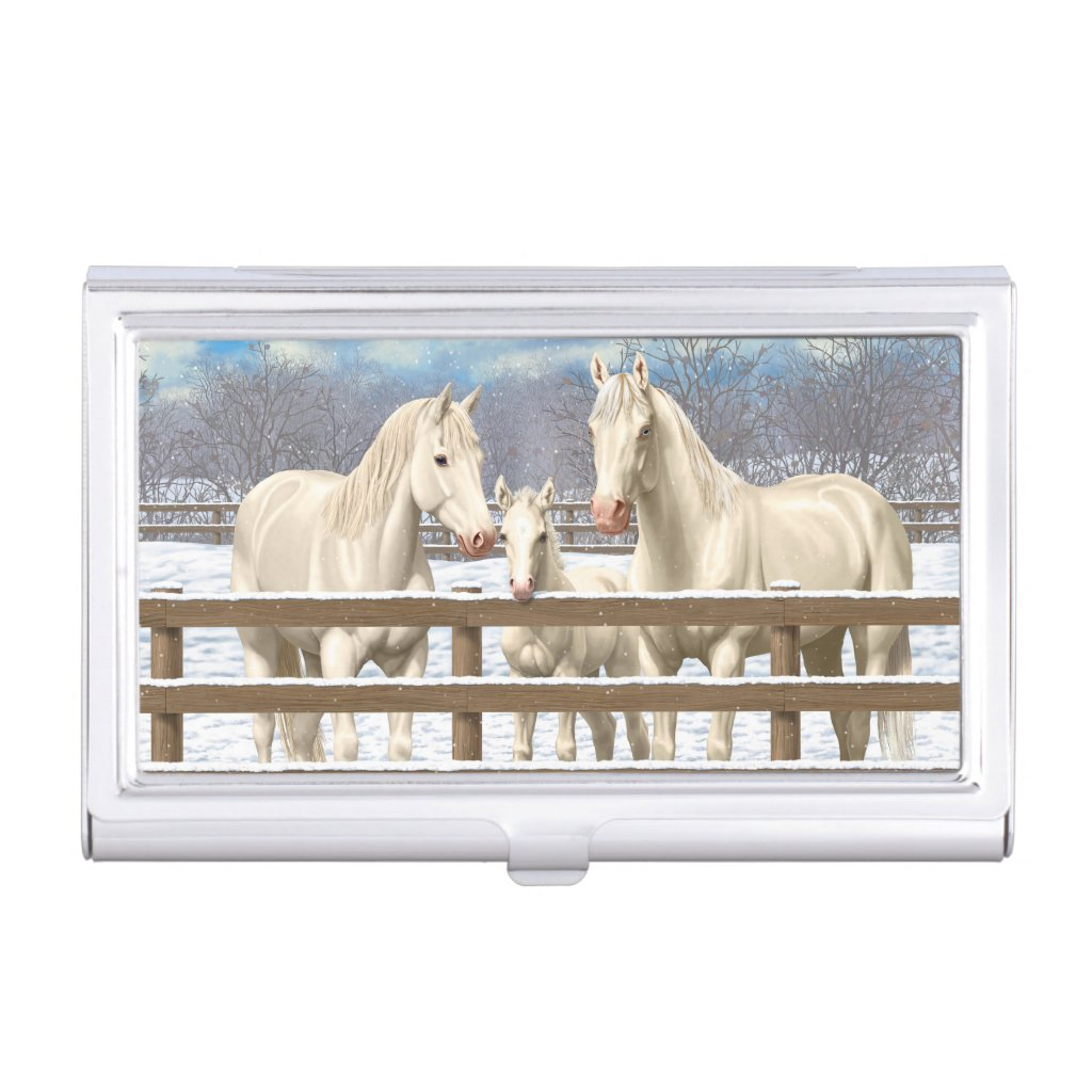 White Quarter Horses In Snow Business Card Holder