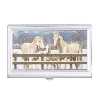White Quarter Horses In Snow Business Card Holder