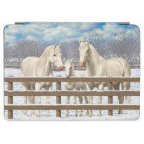 White Quarter Horses In Snow iPad Air Cover