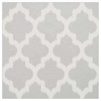 White Quatrefoil Ikat & Custom Gray Background Fabric