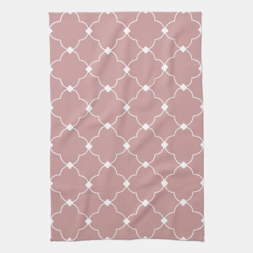 White Quatrefoil Pattern Kitchen Towels
