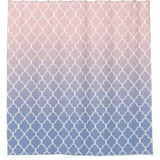 White Quatrefoil, Rose Quartz and Serenity Blue Shower Curtain