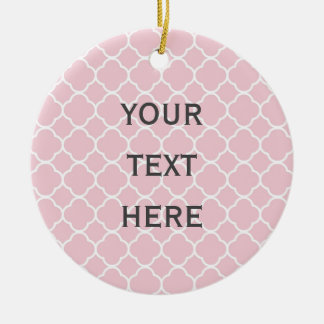 White Quatrefoil with Baby Pink Background Ceramic Ornament