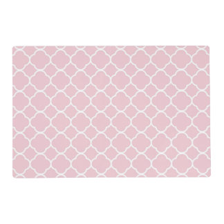 White Quatrefoil with Baby Pink Background Placemat