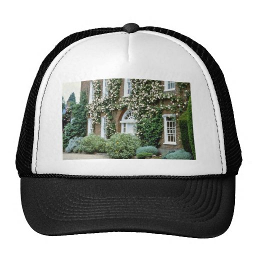 white Queen Anne House With Climbing Rose Cecile B Trucker Hats
