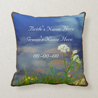 White Queen Ann's Lace  wedding personalize names Throw Pillow