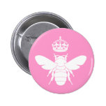 White Queen Bee Logo...Are You A Queen Bee? 2 Inch Round Button