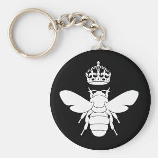 White Queen Bee Logo...Are You A Queen Bee? Basic Round Button Keychain
