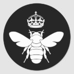 White Queen Bee Logo...Are You A Queen Bee? Classic Round Sticker