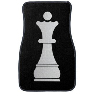 White queen chess piece car mat