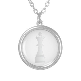 White queen chess piece silver plated necklace