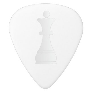 White queen chess piece white delrin guitar pick