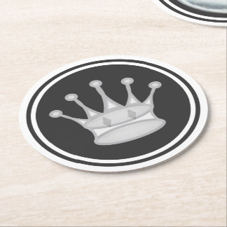 White Queen Chess Round Paper Coaster