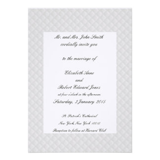 White Quilted Leather Bordered Wedding Invitations