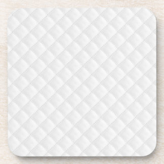 White Quilted Leather Beverage Coaster