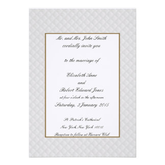 White Quilted Leather Gold Border Wedding Invites