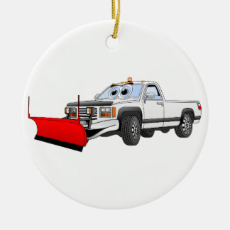 White R Pick Up Snow Plow Cartoon Double-Sided Ceramic Round Christmas Ornament