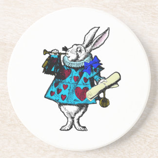 White Rabbit Alice in Wonderland Sandstone Coaster