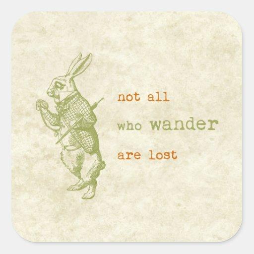 White Rabbit, Alice in Wonderland Square Stickers