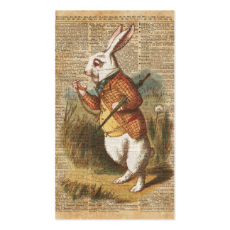 White Rabbit Alice in Wonderland Vintage Art Business Card