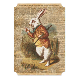 White Rabbit Alice in Wonderland Vintage Art Card
