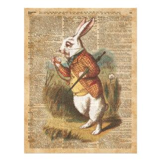 White Rabbit Alice in Wonderland Vintage Art Flyer