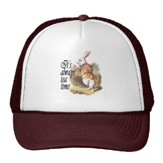 White Rabbit Alice in Wonderland Vintage Art Trucker Hat
