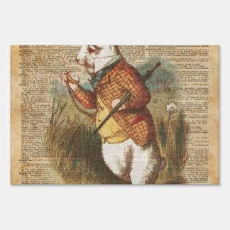 White Rabbit Alice in Wonderland Vintage Art Yard Sign