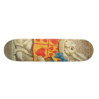 White Rabbit Alice in Wonderland Vintage Artwork Skateboard