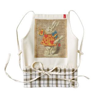 White Rabbit Alice in Wonderland Vintage Artwork Zazzle HEART Apron