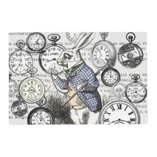 White Rabbit Alice Wonderland Clock Placemat