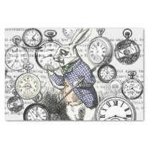 White Rabbit Alice Wonderland Clock Tissue Paper